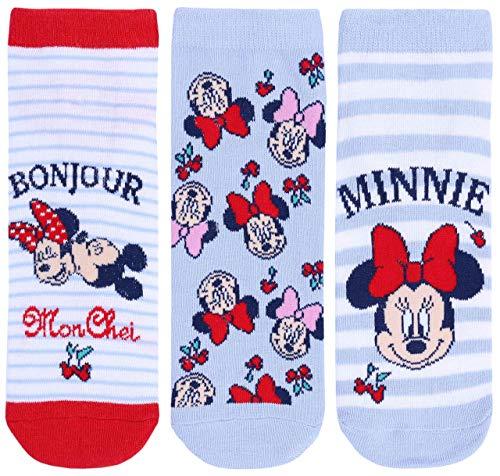 Disney Damen Minnie Maus (3x himmelblaue Socken Minnie Maus DISNEY)