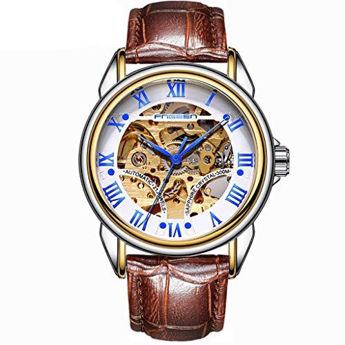 Huacat Herrenuhr Edelstahl Day Date Openwork Gear Hintergrund Brown Leather Strap Automatische Mechanische Uhr wasserdichte Beobachten