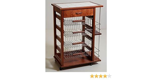 Carrello Salvaspazio Cucina : Carrello cucina vesuvio legno massello 15 mattonelle e
