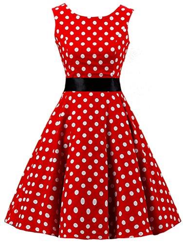 Eudolah Robe a pois babydoll Robe Vintage Classique avec un noeud de papillon style des annees 50 Hepburn vacances soiree taille 42 blanc rouge large