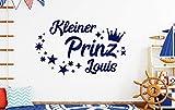 tjapalo® db-pkm359 Wandtattoo Kinderzimmer junge name Wandtattoo jungenzimmer Wandtattoo kleiner Prinz mit Namen (B100 x H58 cm)