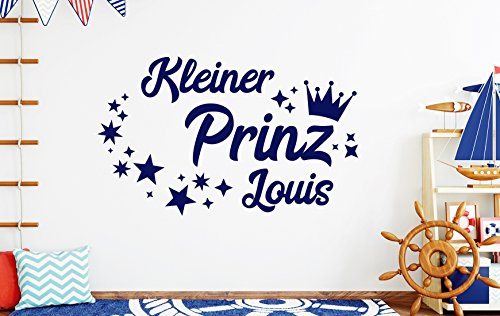 tjapalo® db-pkm359 Wandtattoo Kinderzimmer junge Wandtattoo Jungenzimmer Wandtattoo kleiner Prinz mit Namen (B58 x H35 cm)