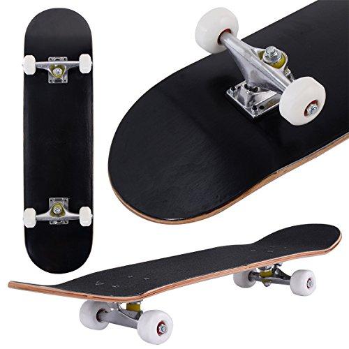 Goplus Skateboard Komplettboard FunboardMinicruiser Holzboard Longboard Farben zur Wahl (Schwarz)