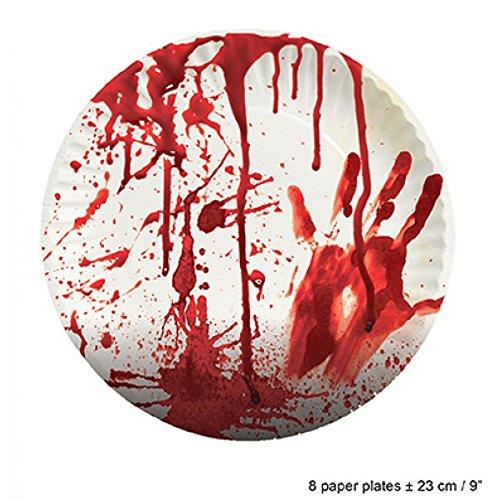 Lively Moments Halloween Partyset Spezial - Blutige Servietten, Pappteller, Pappbecher& Tischdecke / Partygeschirr…