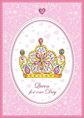 Valentinstag oder Geburtstagskarte Königin Sein für einen Tag! Lustige Klappgrusskarte für die Mutter, Schwester mit Einer süßen illustrierten Krone. Queen for one Day (1)
