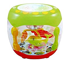 A One Toys, Music Flash Battery Operated Drum Rotating Lamp Light with Musical Instrument Sounds