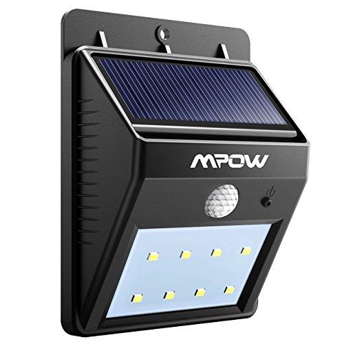 Mpow, Lámpara Solar 8 LED, de Pared, Impermeable con Sensor de Movimiento, Luz Solar al Aire Libre, Foco LED Exterior para Casa, Camino, Escaleras