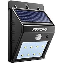 Foco Solar de 8 LED,Lámparas Solares Mpow con Sensor de Movimiento,Focos para la Pared de Luz Solar, Led Solar Movimiento, Luces de Exterior Solar para Jardín, Patio, Terraza, Escaleras, Camino de Entrada, Iluminación y Seguridad de