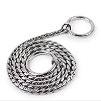 Cngstar Snake Chain Dog Choke Collar Heavy Duty for Small Medium Large Breeds Command Obedience Training Slip Collar (Size 2)