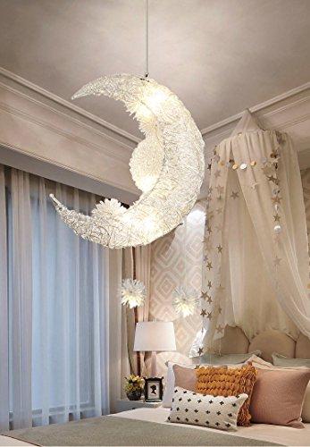 Luna creativa y estrellas de hadas LED lámpara colgante araña luz de techo niños decoración del dormitorio de los niños (Warm Light)