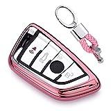 Rosa Car Keyless Entry Key Cover Fall für BMW 7 Series 5 Series X1 X3 X4 X5 X6 M5 M6 Remote Smart 3 4 Buttons, Weiches TPU Schutzhülle mit Schlüssel Kette