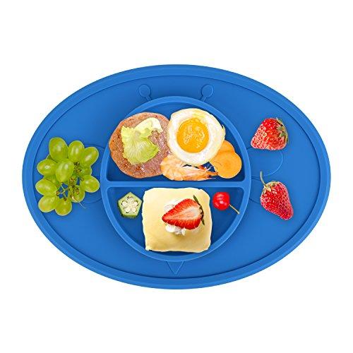 RSPrime Bebé Plato Ventosa Silicona Bandeja Individual Cuenco Antideslizante Placa para Bebés Niños Comer-Diseño de Abeja,Mantel Mantelito Mat Alimentos y Tazón Niño Se Adapta a Trona y Viajes,el Mejor Regalo del Bebé,Aprobado por la FDA, sin BPA (Azul)