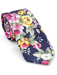 PenSee Men's Slim Necktie Casual Cotton Floral Skinny Tie 6cm -Various Colors & Styles