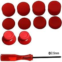 Kit de reparación de joystick analógico de reemplazo eJiasu, destornillador Phillips de 2,5 mm con altura de palanca de mando y palanca de mando para PS4 DualShock 4 Handle Controller (2PCS roter Joystick Thumbsticks + 4 Paare roter Steuerknüppel Caps + 1PC Phillips Schraubenzieher)