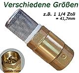 1 1/4 Zoll Fußventil mit Rückschlagventil und VA Saugkorb für Saugschlauch ----- Fussventil geeignet für Gartenpumpe, Schwengelpumpe, Jetpumpe ----- Qualitäts Ventil mit Messingklappe