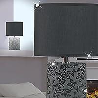 Mia Light paralume lampada da tavolo & # x21a5; 330mm/classico/plastica/Nero/Tessuto/ceramica/notte proiettore Floral
