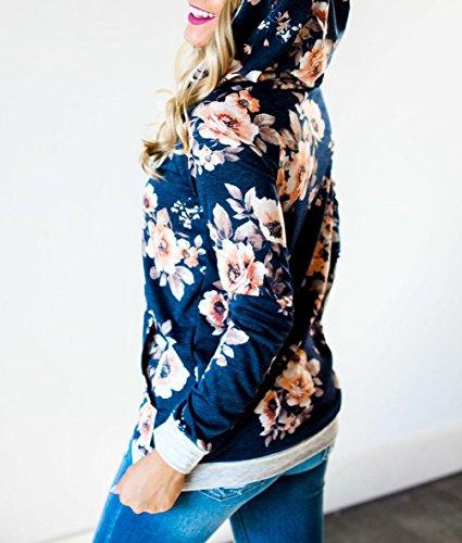 Automne Hiver Femmes Fleurs-Impression Sweat-shirts Blouse Avec Poche Tops à Manches Longues Chemisiers Sweat à Capuche Pulls Haut Sweatshirt Hoodies Bleu
