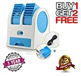 #10: Mobizu Mini Fan & Portable Dual Bladeless Small Air Conditioner Water Air Cooler Powered By USB & Battery Use Of Car/Home/Office (Multi-coloured)