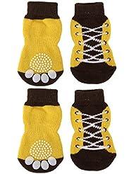 Zapatos Del Animal Domestico Del Perro De Perrito Zapatillas Patron Calcetines Antideslizantes Cordon W / Impresiones De La Pata L