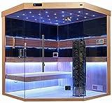 Sauna komplett Sauna Saunakabine Ecksauna Massivholz Traditionelle Sauna TS 4063 180/180/210