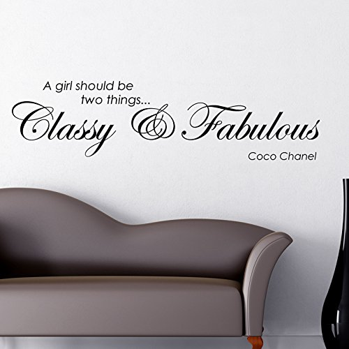 Preisvergleich Produktbild CLASSY AND FABULOUS COCO CHANEL WALL STICKER... Words/Quotes WANDTATTOO WANDAUFKLEBER WALL STICKER Decals