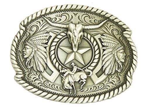 Vintage Western Wear (Nocona by Ivan Vintage Indian Skull Gürtelschnalle Western Buckle Cowboy USA)