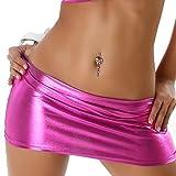 Jela London Damen Mini-Rock Wetlook Micro Latex-Optik Glanz metallic GoGo Rock kurz, Pink 34 36 38
