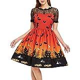 MRULIC Halloween Damen Kleid Abendkleid Schöne Festival Kleidung und Zubehör Partykleider(A-Orange,EU-40/CN-XL)