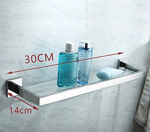 Badezimmer Regal Badezimmer-Regal 304 Edelstahl-Badezimmer-Glas-Regal-Wand-Einfassung-Badezimmer-kosmetischer Standplatz Einschichtiger Spiegel-vorderer Rahmen Badezimmer Regale (Größe : 30cm)