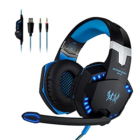 EasySMX G2100 Stereo Vibrationsfunktion Headset Stereo Bass LED-Licht für PS4 Neu Xbox One, Bass-Over-Ear-Kopfhörer mit Mikrofon, LED-Beleuchtung und Lautstärkeregelung für Laptop, PC, Mac, iPad, Computer, Smartphones 3,5 mm Stecker