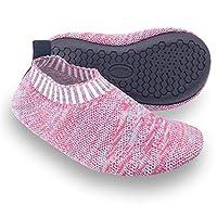 Dream Bridge Kids Slipper Socks Anti-Slip Knit Sock Slippers for Boys Girls Indoor Outdoor Socks with Rubber Bottom Sole, Pink, 13/14 UK Child