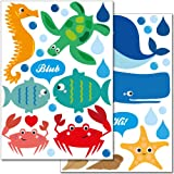 WANDKINGS Meeresbewohner Wandsticker Set, 43 Aufkleber, 2 DIN A4 Bögen, Gesamtfläche 60 x 20 cm