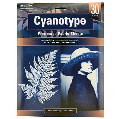 Lot de 30 feuilles en tissu Jacquard Cyanotype