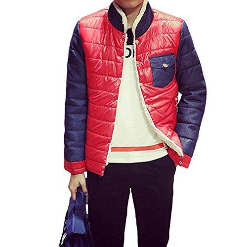 Meijunter Männer Stehkragen-Bann-Farben-Jacke dicker Baumwolle warme wasserdichte Mantel-Mantel Overcoat Coat Red