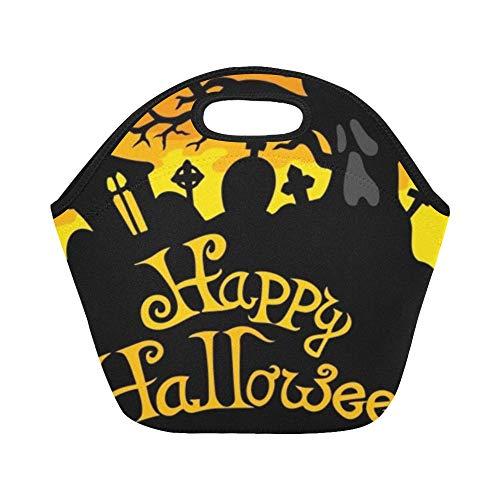 nch-Tasche Happy Halloween Theme 6 Große wiederverwendbare thermische dicke Lunch-Tragetaschen für Lunchboxen Für den Außenbereich, Arbeit, Büro, Schule ()