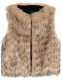 VLUNT Chaleco de Piel para Niños Ropa de Piel Sin Mangas Niña Abrigo Invierno Fur Vest