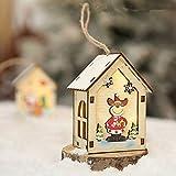 Sansee LED-Licht aus Holz Puppenhaus Villa Weihnachtsschmuck Weihnachtsbaum hängen Dekor (ColourB)