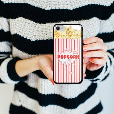 Apple iPhone 5c Silikon Hülle Case Schutzhülle Popcorn Kino Design Hard Case schwarz