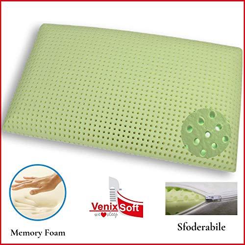 Venixsoft cuscino per letto ortopedico in memory foam anti soffoco terapeutico in linfa di aloe vera dall'effetto cervicale rilassante e riposante, saponetta