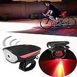 TENGGO Wasserdichte Super Helle USB Wiederaufladbare LED Fahrrad Lichtschein Werfer mit Horn und Rücklicht Set