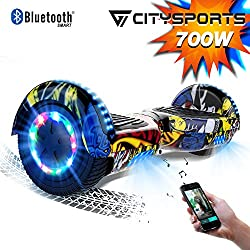 CITYSPORTS Hoverboard 6.5 Pouces Hover Board Bluetooth, Gyropode Self-Balance Board Moteur 700W avec Roues LED Flash,Skateboard Electrique Enfant Adult