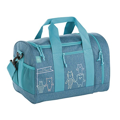 Lässig Mini Sportsbag Little Monsters, Bouncing Bob Kinder-Sporttasche, Navy Türkis blau