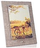 CORNICI e FOTOGRAFIE Cornice da Tavolo di Design, Base 18x25 cm, portafoto in plexiglass 13x19cm, Colore Marrone Effetto Legno