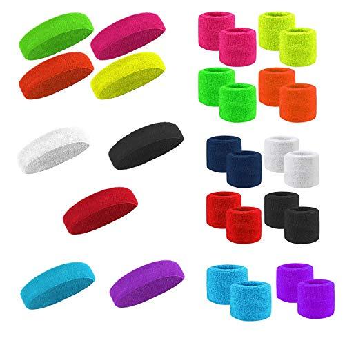 Stirnband Schweissband + 2x Armband SET Kopfband NEON und andere Farben (Neon gelb)