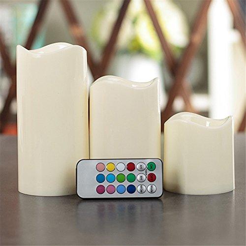 EMOTREE 3 in 1 LED Kerzen Kunststoff Licht mit Fernbedienung Timer Flammenlose Flackernd