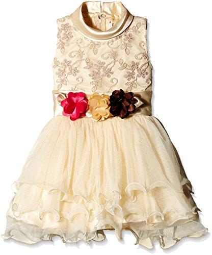 Priyank Baby Girls' Dress (505Beige_9 - 12 months)