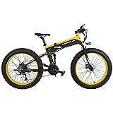 T750Plus 27 Speed 26*4.0 Fat Bike, bici elettrica pieghevole 1000W 48V 10Ah batteria al litio nascosta, bicicletta da neve a sospensione completa (Nero Giallo, 1000W Standard+ 1 batteria di ricambio)