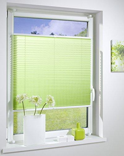 DecoProfi PLISSEE grün, verspannt, Breite 75cm x 130cm (max. Gesamthöhe Fensterflügel), mit Klemmträger / Klemmfix / ohne Bohren