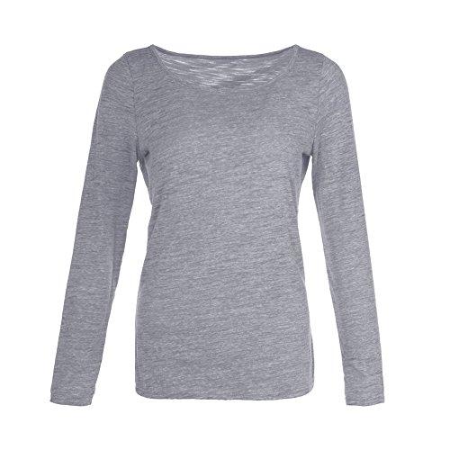 Bonboho Femme T-shirt Manches Longues Top Blouse Casual Basique Shirt Pour Printemps Automne S-XXL Gris