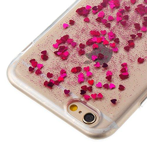 Custodia Cover iPhone 6/6S 4.7 Silicone Morbida,Ukayfe Trasparente Cristallo di Lusso di Bling Glitter Paillettes Disegno per iPhone 6/6S 4.7 Clear Flexible TPU Gel Ultra Sottile Copertura Case Protet Rosa Caldo 3#